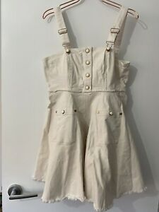 Alice Mccall Dress Size 12 White Cream Denim Pockets