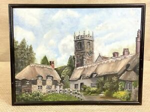 1938 Vintage Oil Painting The Isle of Wight Godshill Village Thatched Cottage