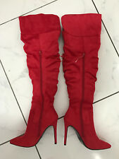 wild red leather look boots 12 cm Sexy fetish high heels 40 41 UK7 US9