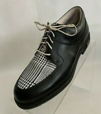 Foot Joy Europa Collection 99259 Black Oxford Golf Shoes Houndstooth Print Sz 5N