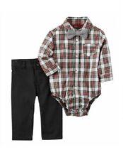 Carter's Plaid Bodysuit Black Pants & Bowtie Dressy Outfit Baby Boy 18 Months