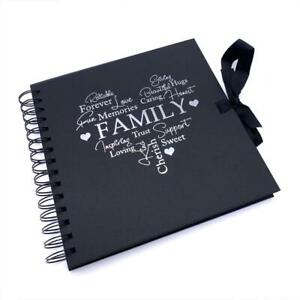 Family Themed Black Scrapbook Photo album With Silver Script
