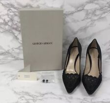 Authentic Giorgio Armani Black Satin Pointy Toe High Heel Pumps With Box Size 10