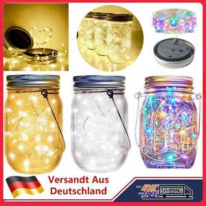 2/1M LED Solarleuchte Einmachglas Garten Solarlaterne Lampe Deko Tischleuchte DE