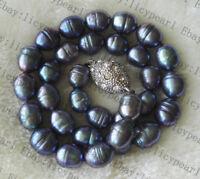 10-11mm Weiß grau schwarz Barock Reis Süßwasser Perlenkette Magnetverschluss