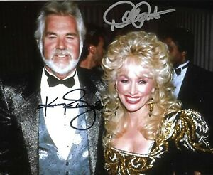 Dolly Parton and Kenny Roger promotional photo Reproduction signature