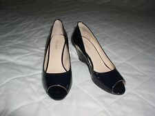 NINE WEST LADIES WEDGE HEEL PEEP TOE PATENT SHOES SHOCK MODE 8 1/2W / 6 1/2UK
