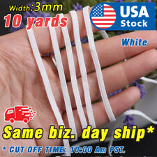 "10 yards Elastic Band Flat 1/8"" 3mm Trim Spandex make mask string DIY mask White"