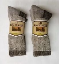 6 Pr Brown Heather Hiking Boot Mid-Calf Acrylic Blend Socks Small-Med FREE SHIP