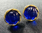 Vtg Avon Raj Clip On Earrings Ribbed Blue Sapphire Lucite Cabochons Rate Jewelry