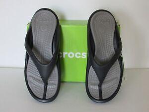 Crocs Athens Croslite Flip-Flops Comfort Sandals Black/Blue Mens  7,8,9,10,11,12