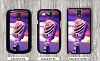 MICROPHONE VINTAGE MUSIC MATERIAL CASE FOR SAMSUNG GALAXY S3 S4 NOTE 3 -hjb97