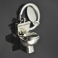 Cute Exquisite Fashion 3D Chrome Toilet Keychain Simulation Mini Keyring 3D Gift