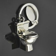 Cute Exquisite Fashion 3D Chrome Toilet Keychain Simulation Mini Keyring 3D Gift
