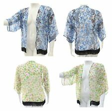Ladies 16 - 26 Fab print chiffon kimono Black tassel Summer cardi jacket  LICK