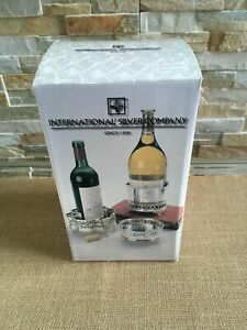 INTERNATIONAL SILVER COMPANY Silver Plated WINE BOTTLE COASTERS SET of 3 NEW