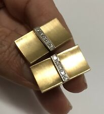 Yellow 18k Gold & Diamond Cuff Links 14.7 grams Rectangular Vintage Cufflinks