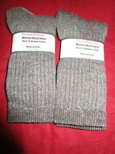 2 Pair Medium Pocono 75% Merino Wool Hiker Women Sock 5-10  Made in USA