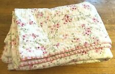 """Simply Shabby Chic KING QUILTED 100% COTTON QUILT Small Pink Roses 102""""x85"""""""