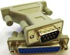 Serial Cable / Port Adapter / RS232 Gender Changer, DB9 Male to DB25 Female