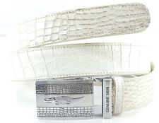 100% BELLY SKIN GENUINE CROCODILE LEATHER MEN'S BELT NATURAL WHITE SIZE 39 NEW