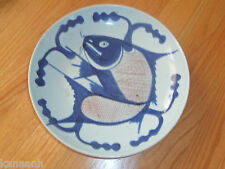17-18th-C Antique Chinese Bowl/ Plate with Fish Motif Signed-Red Stamped on Back