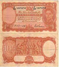 Australia 10 Shillings Banknote 1942 Very Fine Condition Cat-25-B-7274