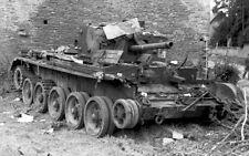 B&W German Photo Destroyed British Cromwell Tank  WWII WW2 World War Two France