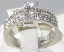 TK2292  wedding & engagement ring set SIMULATED DIAMOND 2pc STAINLESS STEEL band