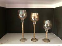 Set of 3 Long-Stem Glass Votive Candle holders - Gold