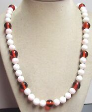 """Vintage 50's Long 24"""" White Peach Amber Glass Bead Necklace"""