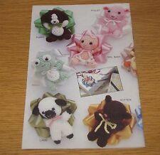 Annie's Attic BABY BOW TRIMS Pattern Book Crochet Animals Gift Present Plush VTG