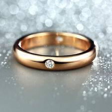 18K Rose gold 0.1 ct Round cut Diamond 4 Stone Band Ring FREE PP