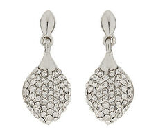CLIP ON EARRINGS - silver plated drop earring with clear CZ stones - Agnes S