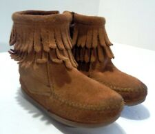 Minnetonka Brown Suede Leather Ankle Boots 2292 Sz 5 Zipped