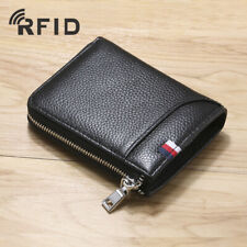 100% Genuine Leather Men's Zipper Wallet RFID Blocking ID Card Holder Money Clip