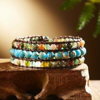 Unique Leather Wrap Natural Stone Bracelets Handmade Bohemian Weaving knot Cuff