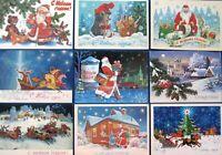 CHRISTMAS Soviet Postcards USSR Happy New Year Lot SET 9pc Santa Claus Kids ART