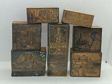 More details for lot of 7x vintage wooden hand carved letterpress printing blocks
