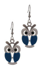 Blue Enamel and Silver Plated Chunky Wise Owl Earrings for Pierced Ears