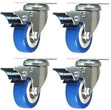 "4 Pack 2"" Caster Wheels Swivel Plate Total Lock Brake Blue Polyurethane PU 500LB"