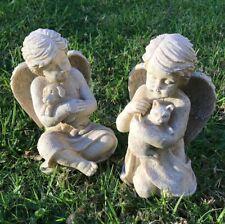 ~❤️~PET MEMORIAL Cherub holding Dog or Cat Angel Statue Poly Resin 20cm~❤️~