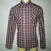 Mens LEVIS MODERN Fit Long Sleeve Red Plaid Western Shirt W/ Pearl Snaps L Large
