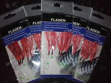 5 packs of 5 hook size 1/0 Red Feathers Sea fishing Feathers/Rigs