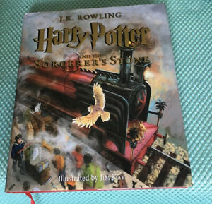 Harry Potter & The Sorcerer's Stone: Illustrated Hardcover W/Dust Cover Freeship