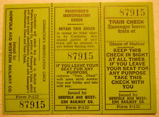 Norfolk & Western Railway Blank 3-Part Train Check