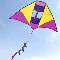 Yellow-purple 43in Spiral Tail 3D Triangle Kite delta kite box Outdoor fun Sport