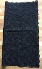 Coupon de tissu dentelle ancien, haute couture, noir 137X60 neuf