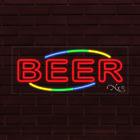 "NEW ""BEER"" w/MULTICOLOR BORDER 32x13X1 INCH LED FLEX INDOOR SIGN 30741"
