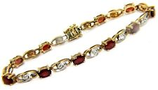 Ladies 9carat 9ct Gold Garnet & Diamond Bracelet, 10.17g.